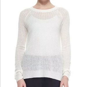 THEORY INNIS SAG HARBOR LINEN WHITE OPEN SWEATER